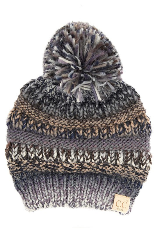 C.C. Black & Gray Multi Color Pom Beanie For Kids