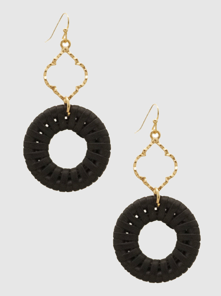 Black Quatrefoil Earrings
