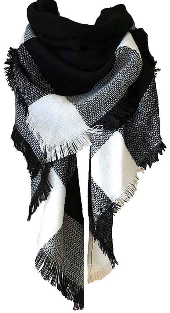 Black & White Blanket Scarf For Women