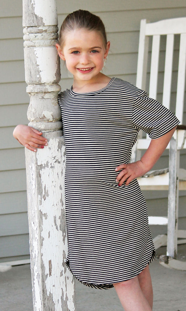Black & White Stripe Dress For Girls