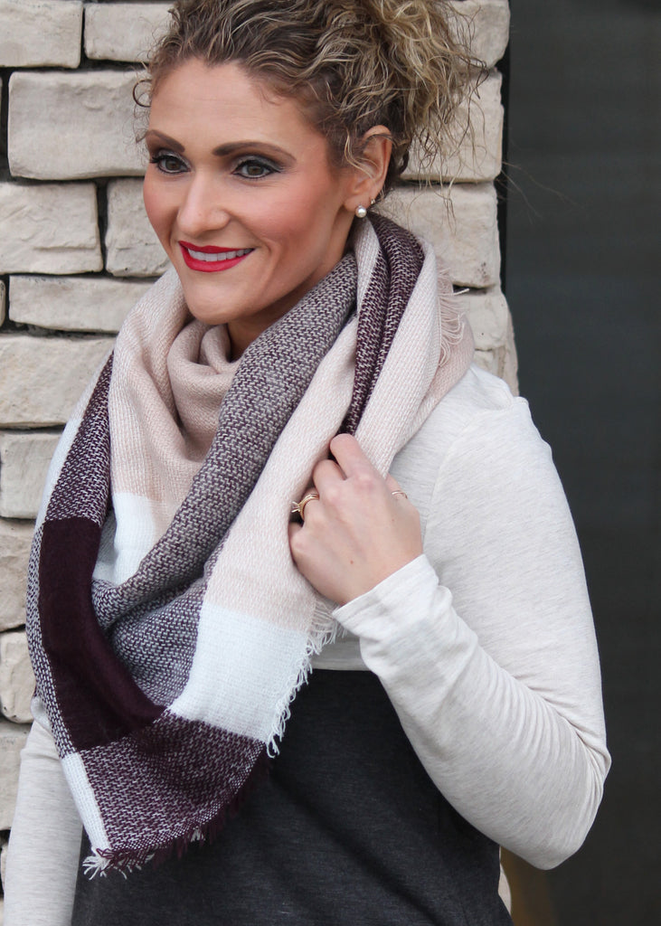 Burgundy & Tan Blanket Scarf - Women