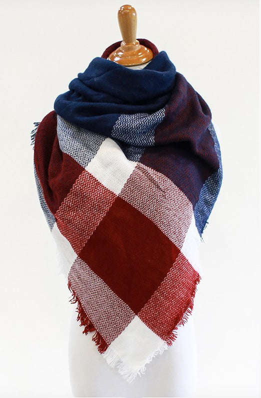 Navy, Red & White Plaid Blanket Scarf - Women