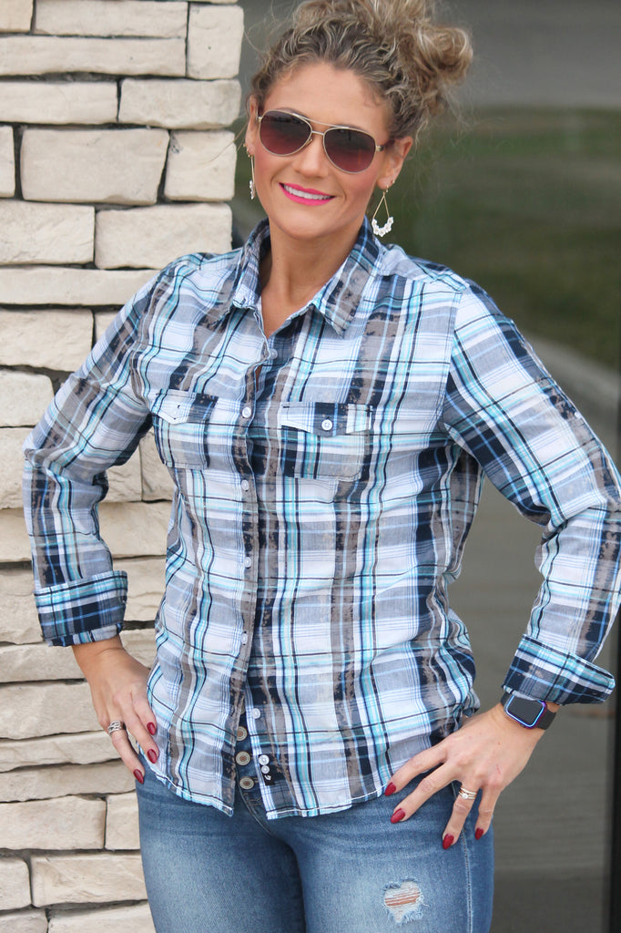 Blue Bleached Plaid Top For Women