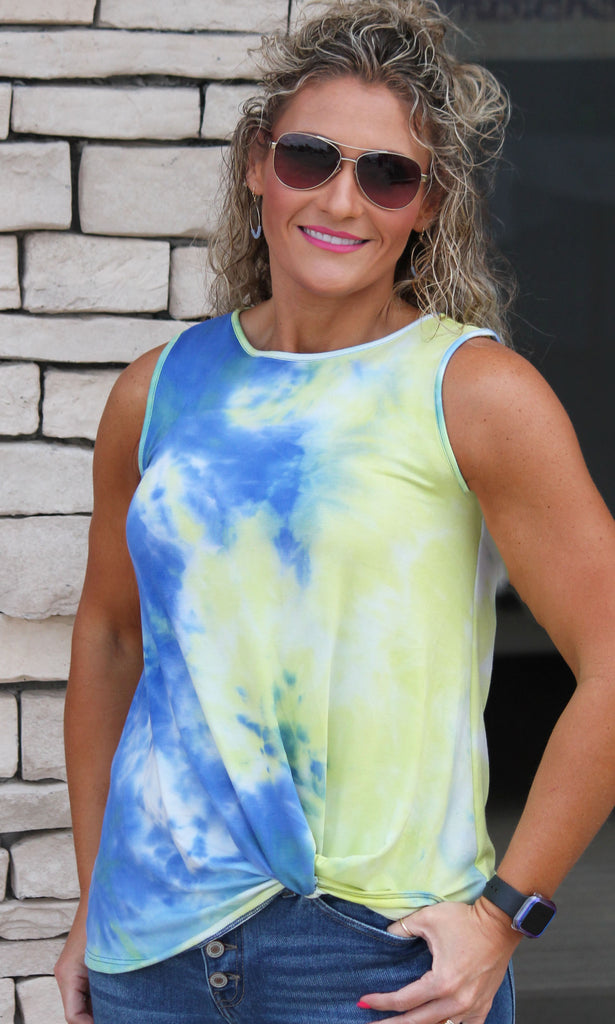 Blue Twist Tie Dye Tank Top For Women
