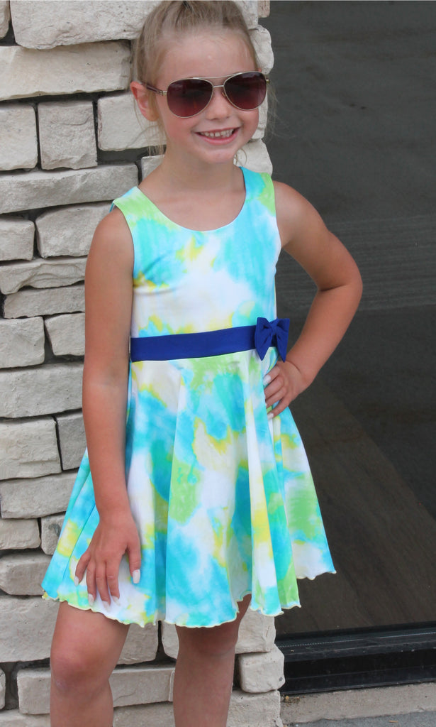 Blue & Green Tie Dye Dress For Girls