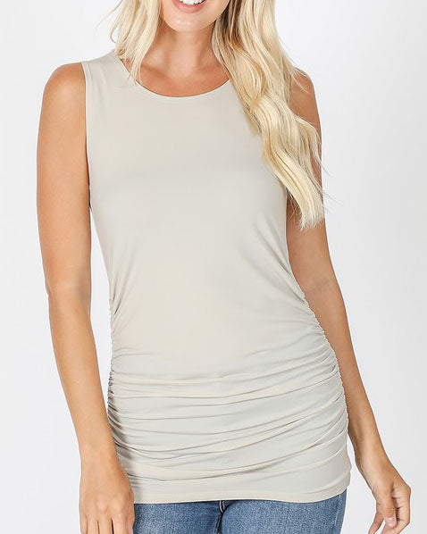 Bone Ruched Tank For Women