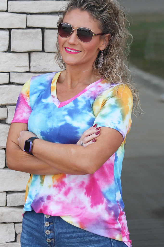 Bright Day Tie Dye Top For Women