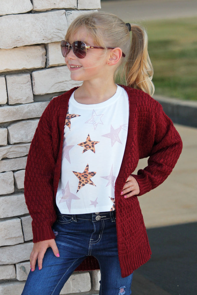 Burgundy Chunky Knit Cardigan For Girls
