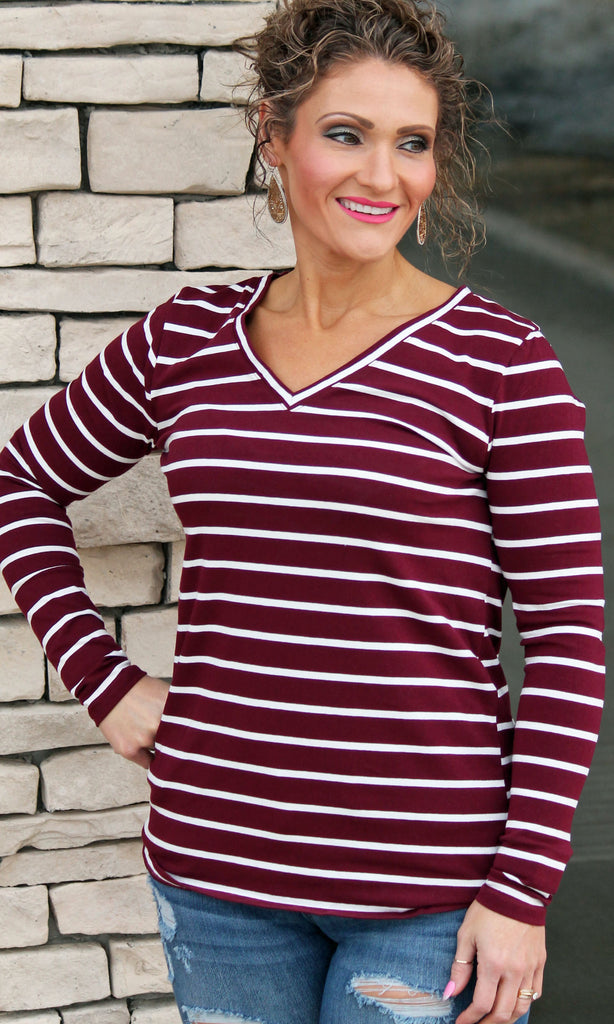 Long Sleeve Everyday Burgundy Stripe Top For Women
