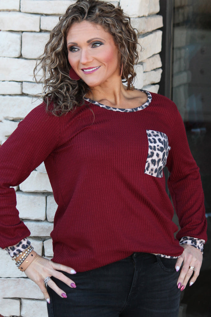 Burgundy Thermal Top For Women
