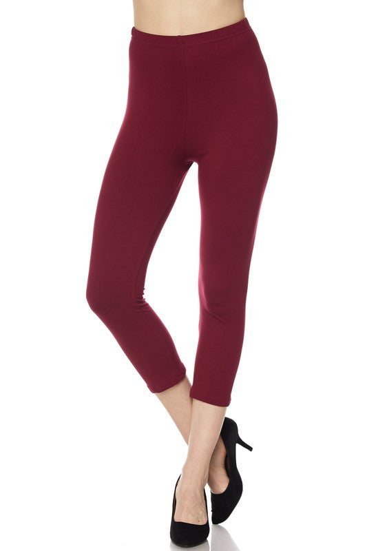 "Burgundy Essential Capri 1"" Waistband - Women"