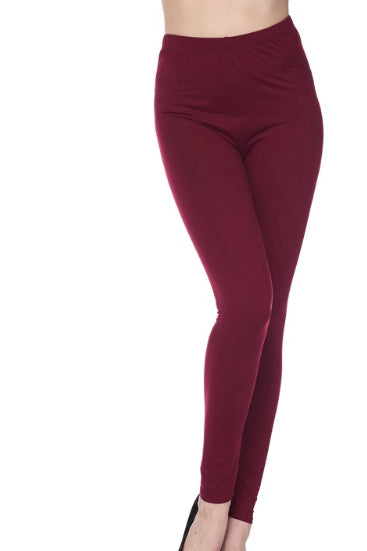 "Burgundy Legging 1"" Waistband - Women"