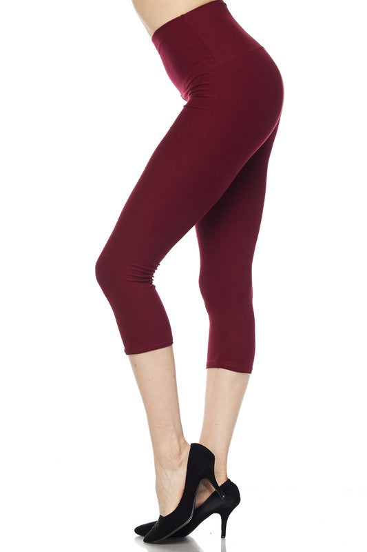 "Burgundy Essential Capri 5"" Waistband - Women"