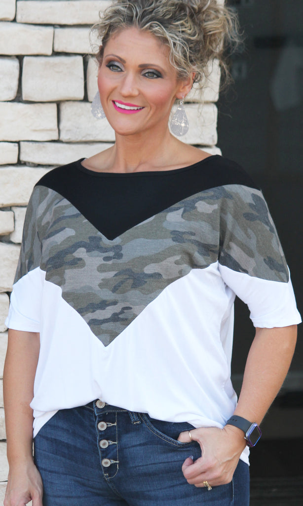 Chevron Camo Top For Women