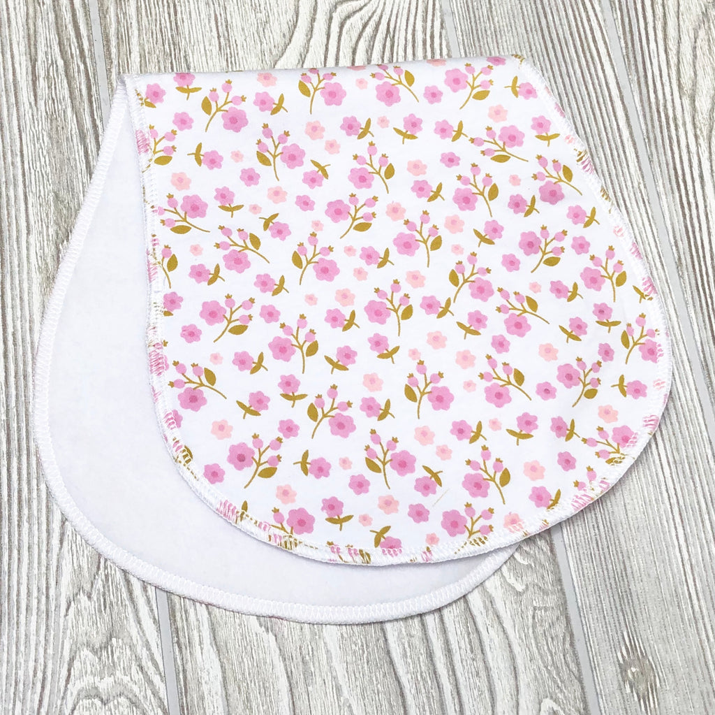 Pink Floral Contoured Burp Rag For Baby