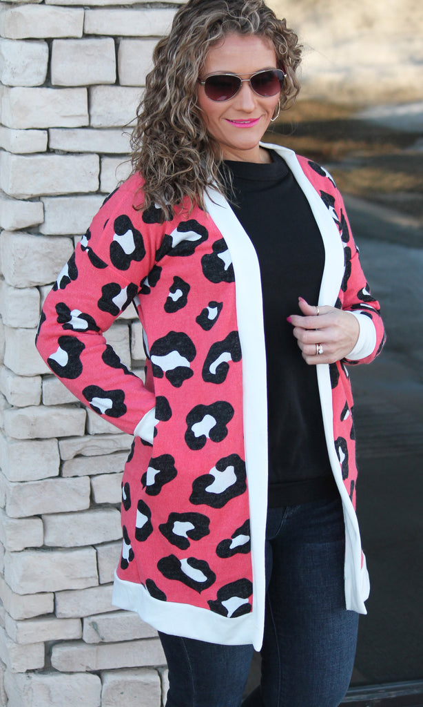 Coral Animal Print Cardigan For Women