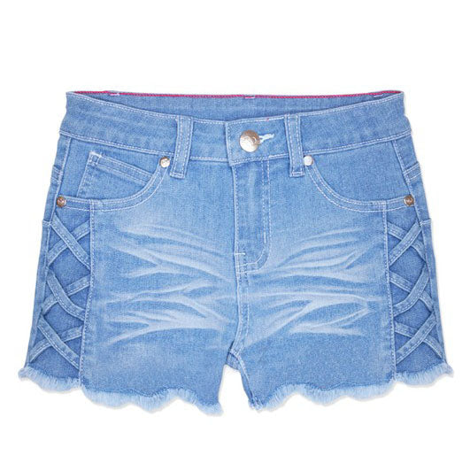 Criss Cross Light Denim Shorts For Girls