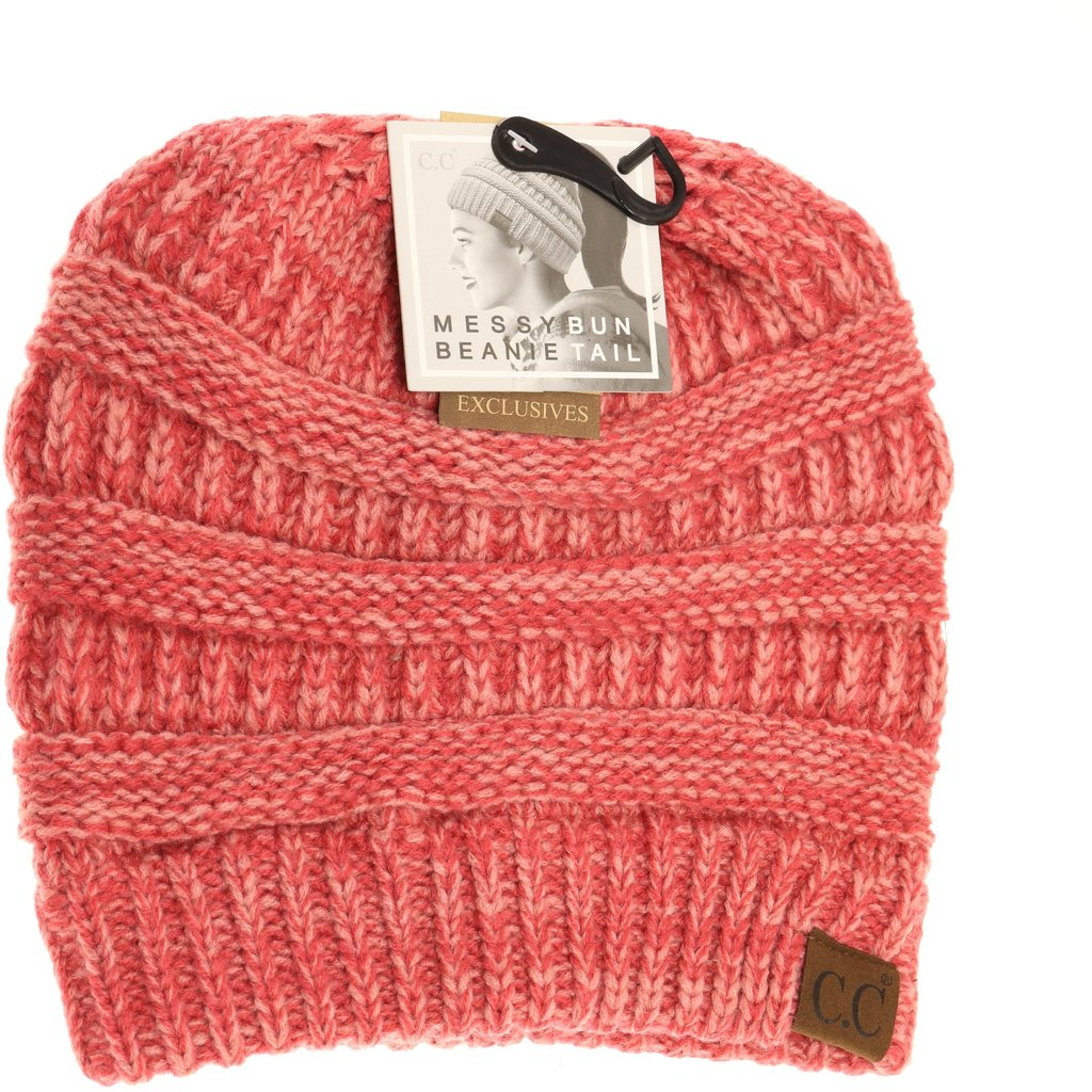 C.C. Dark Rose Messy Bun Beanie For Women