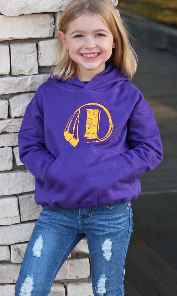 Purple Hooded Sweatshirt - Distressed I Logo - Toddler / Youth