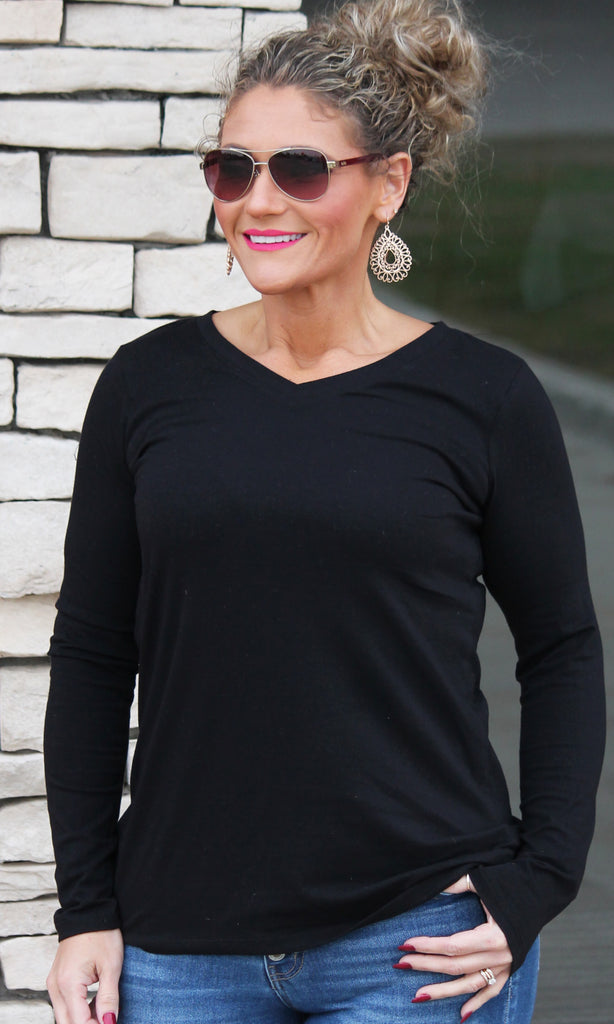 Everyday Black Long Sleeve Top For Women