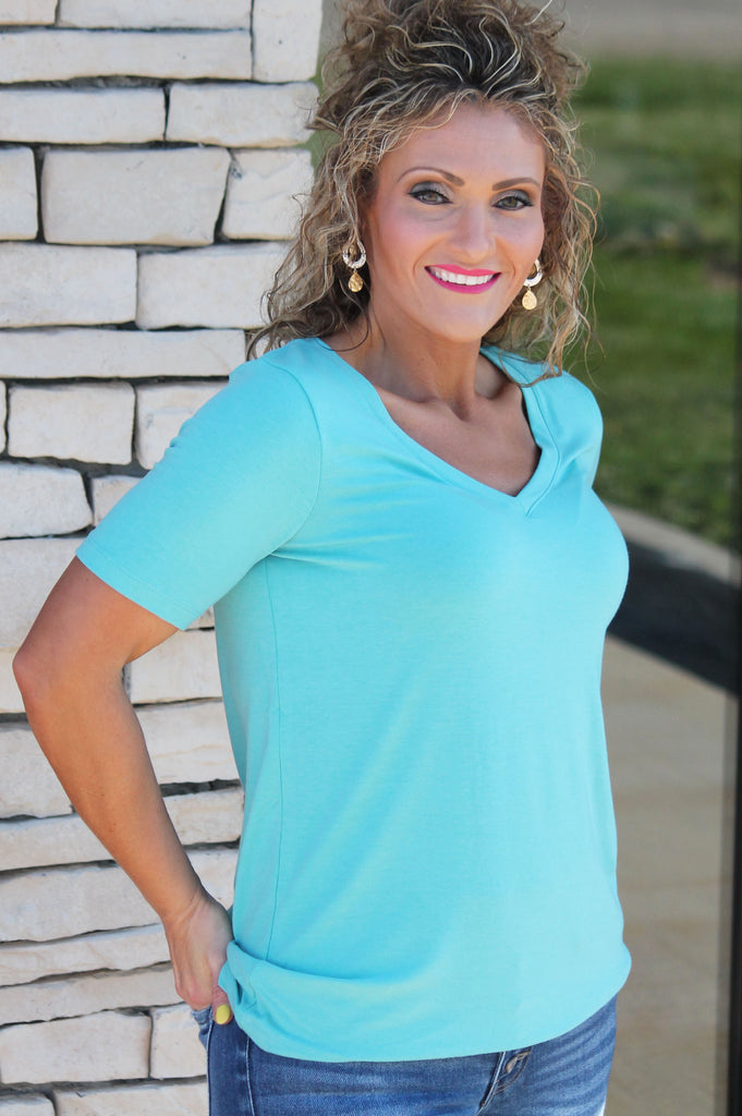 Everyday Mint V-Neck Tee | BnB Family Boutique | Indianola Iowa
