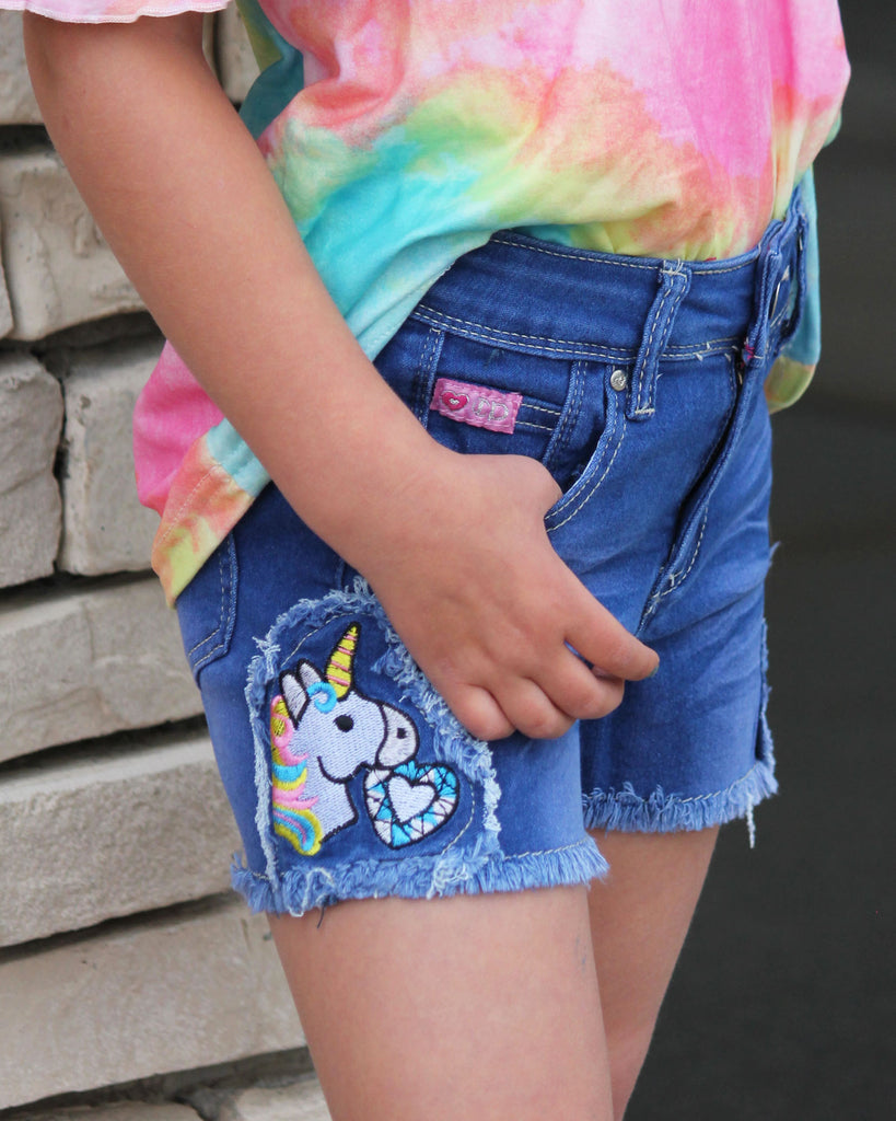 Frayed Unicorn Denim Shorts For Girls
