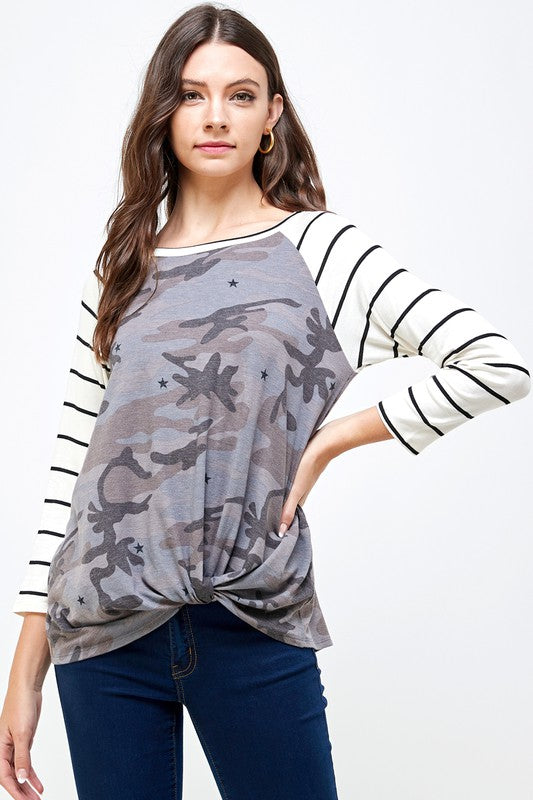 Front Knot Camo Top For Women