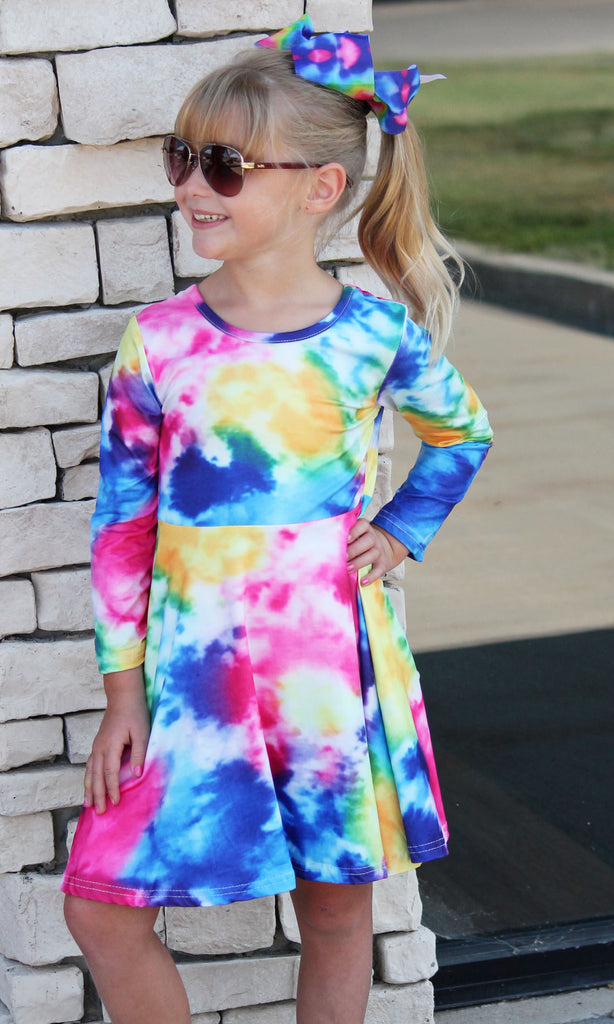 Fuchsia Tie Dye Dress For Girls