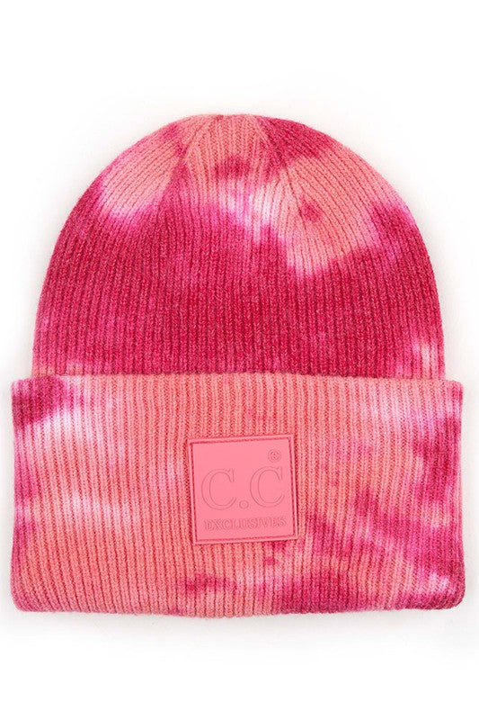 Fuchsia & Pink Tie Dye Beanie For Adults