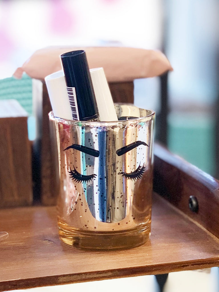 Gold Glitter Makeup Brush Holder - Lashes