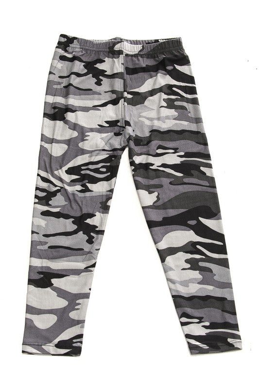 Gray Camo Leggings - Girls