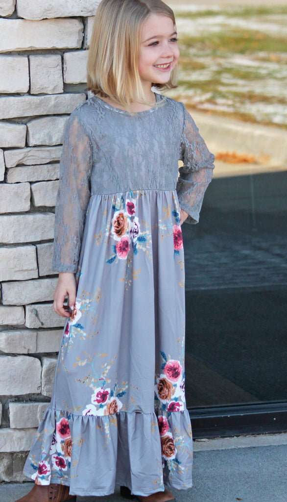 Gray Floral Lace Maxi Dress - Girls