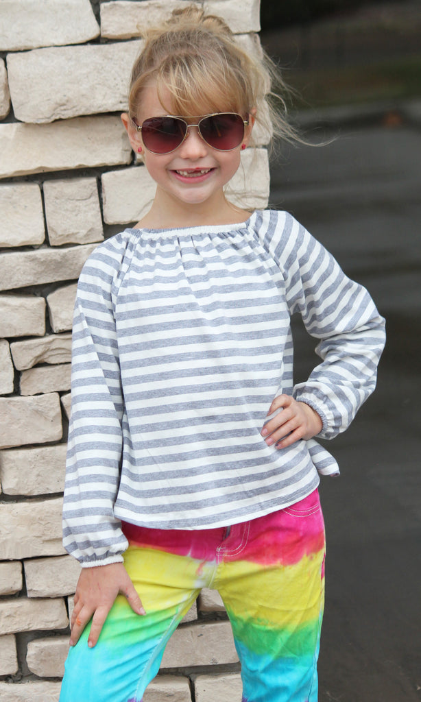 Gray & White Stripe Top For Girls