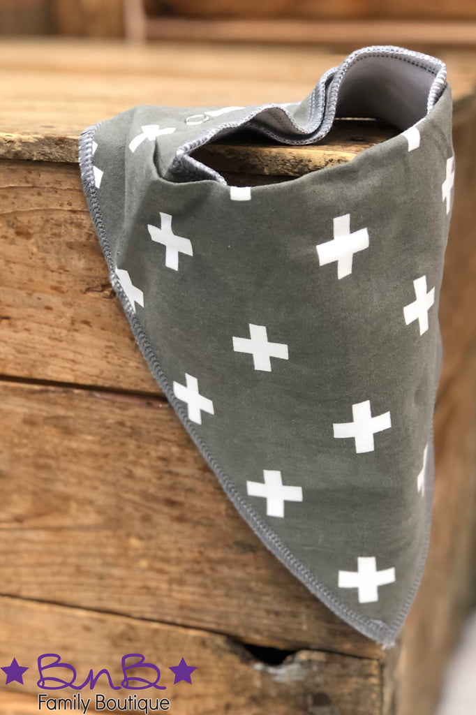 Gray & White Cross Bandana Bib