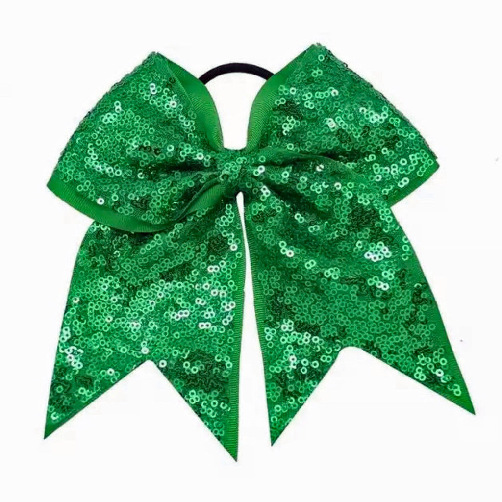 Green Sequin Cheer Bow