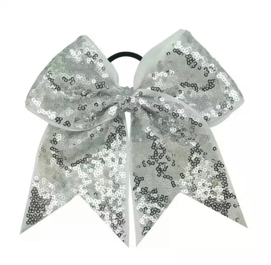 Silver Sequin Cheer Bow
