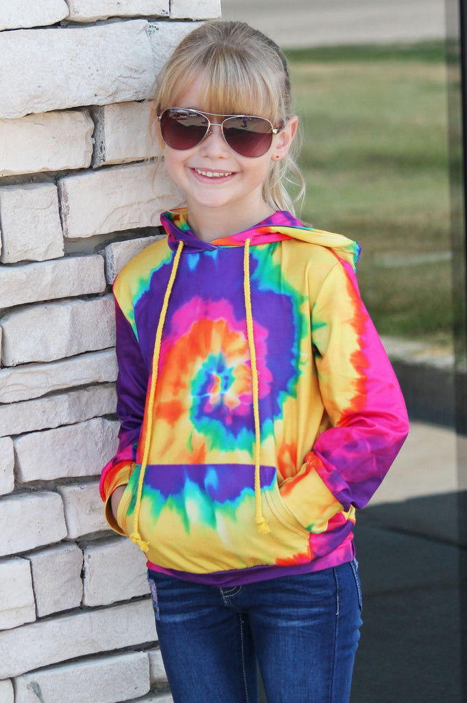 Happy Days Tie Dye Hoodie For Girls