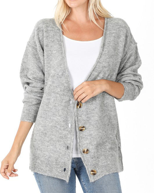 Heather Gray Oversized Cardigan For Women