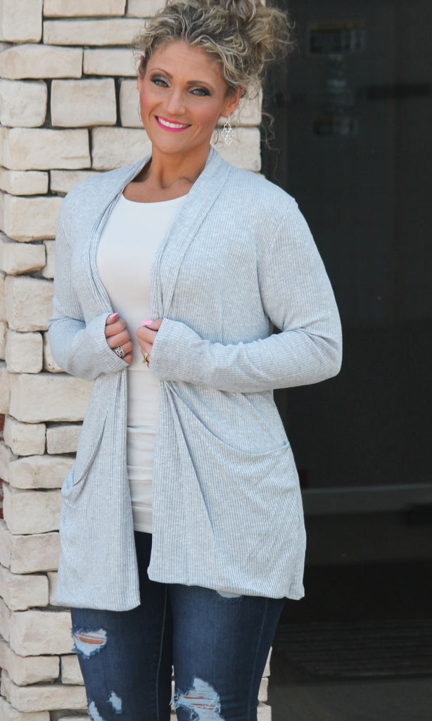 Heathered Gray Pocket Cardigan For Women