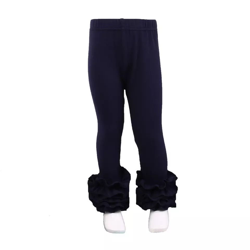 Navy Ruffle Legging For Girls