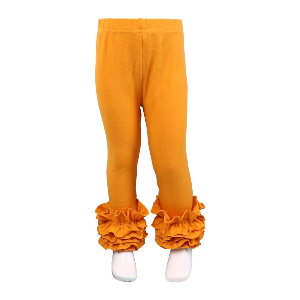 Mustard Ruffle Legging For Girls