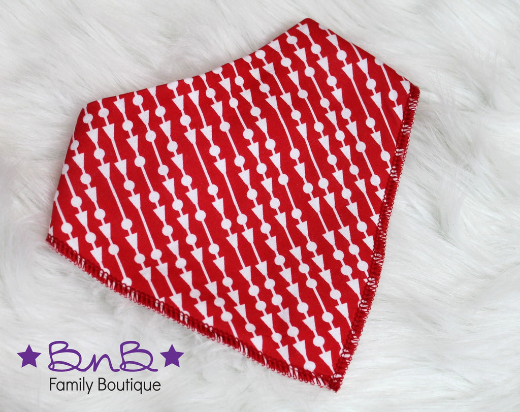 Red Geometric Bandana Bib