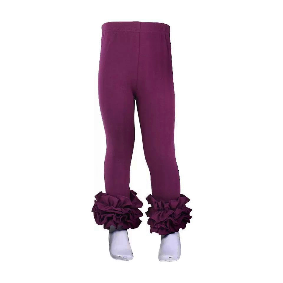 Plum Ruffle Legging For Girls