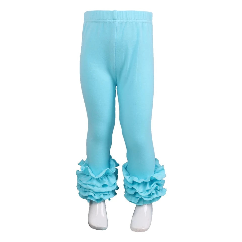 Aqua Ruffle Legging For Girls