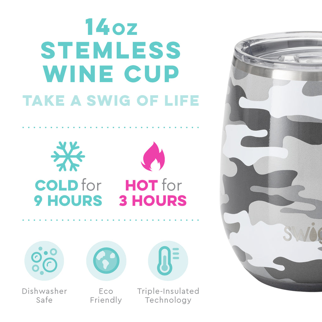 Swig Incognito Camo 14oz Stemless Wine Cup