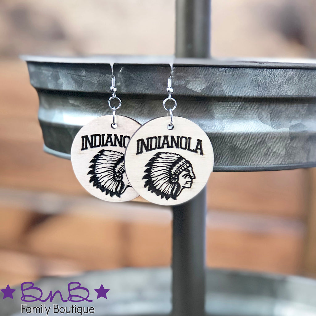 Indianola Indian Head - Round Wood Earrings