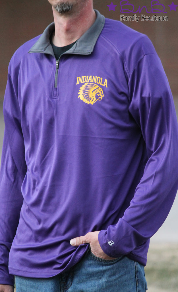 Indianola Purple Quarter Zip Pullover - Youth