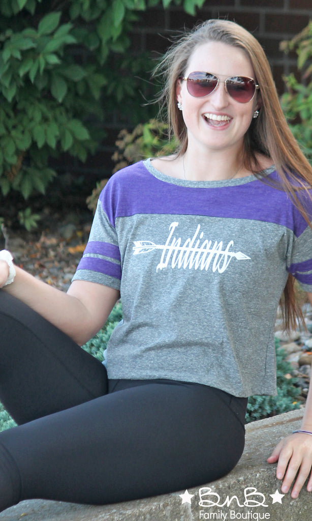 Indians Purple Stripe Cropped Tee