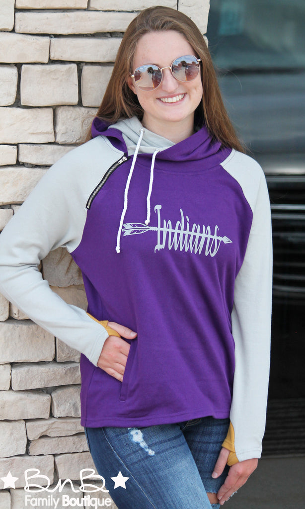 Indians Side Zip Double Hoodie For Women