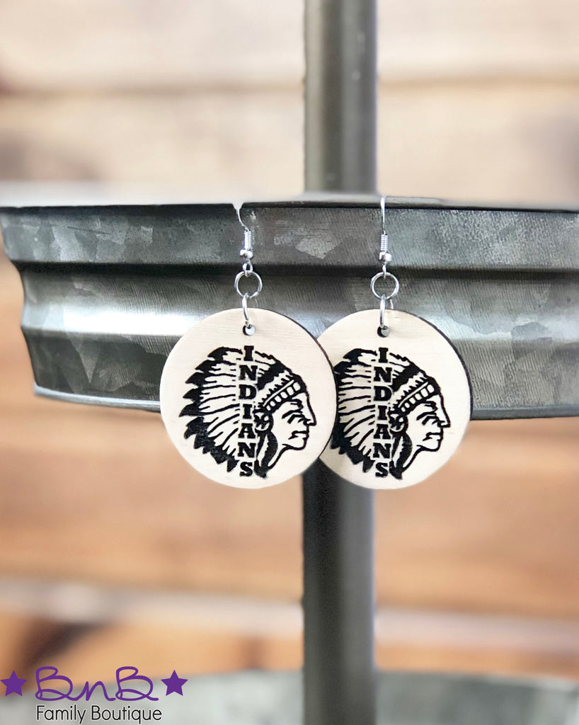 Indians - Round Wood Earrings